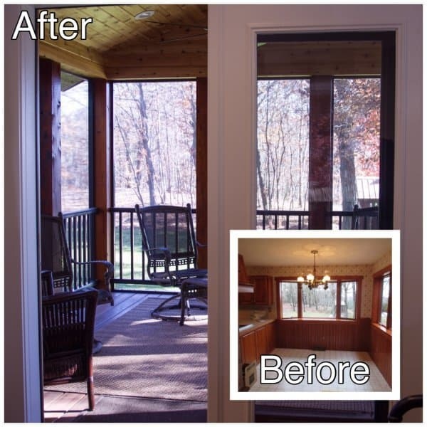 Porch Addition Before and After