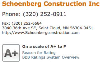 BBB Rating of Schoenberg Construction, Inc.