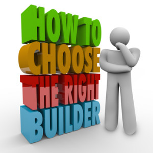 How to Choose the Right Builder words in 3d letters next to a man thinking and wondering about the question, needing advise from an expert on contracting a building job