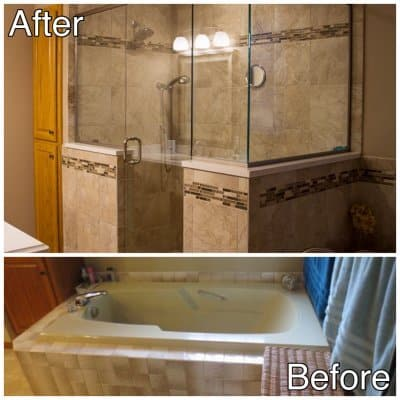 6 - Master bath tub to shower before and after