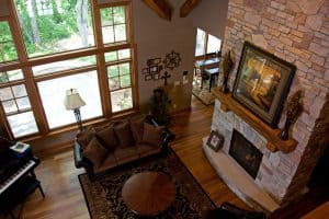 Sartell Custom Home Living Room Fireplace