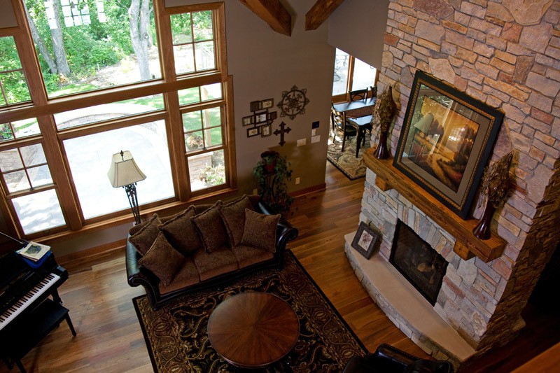 Sartell Custom Home Living Room Fireplace