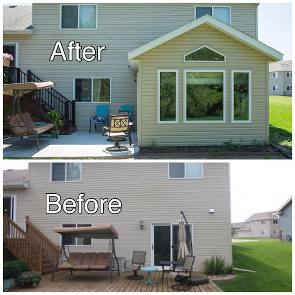 Room Addition Before and After Photo