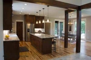 Custom Home timber beam accents kitchen