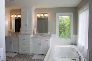 Master Bath painted cabinets and