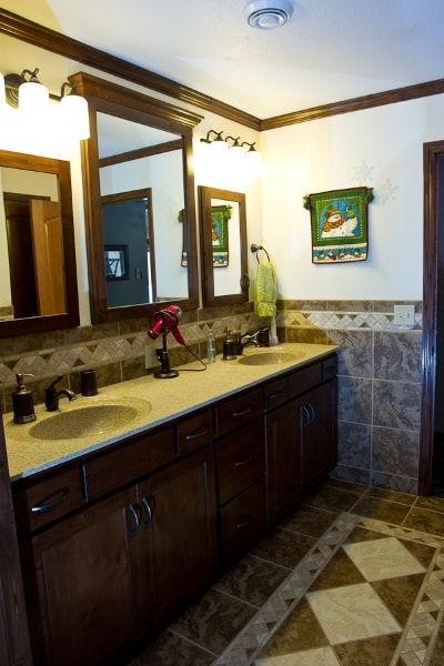 Custom Master Bath vanity tile backsplash