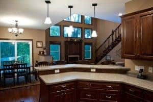 custom home kitchen to living room