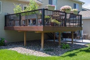 Deck After metal railing with drink rail