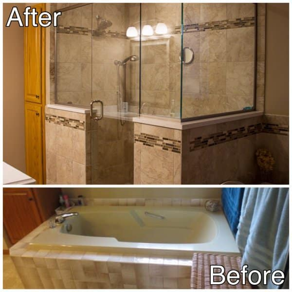 Master bath tub to shower before and after