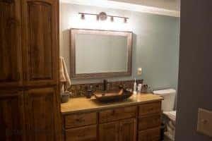 Basement after bathroom sink