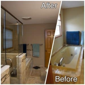 Master bath Remodeling before and after