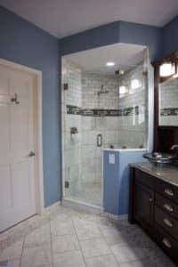 Bath remodel after walk in shower