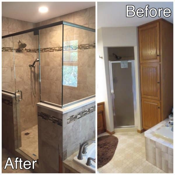 New Ceramic Tile Shower and Glass Doors