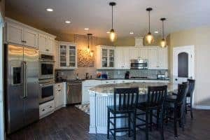 Kitchen Island with painted cabinets