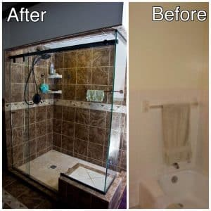 Ceramic Tile Shower and Glasss Doors Remodeling