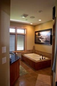 New home bathroom with tub