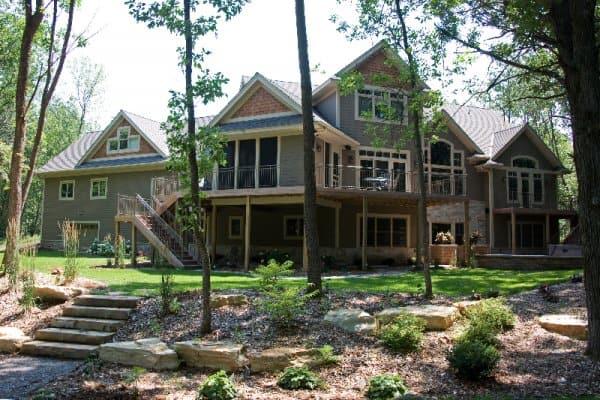 Custom home backyard