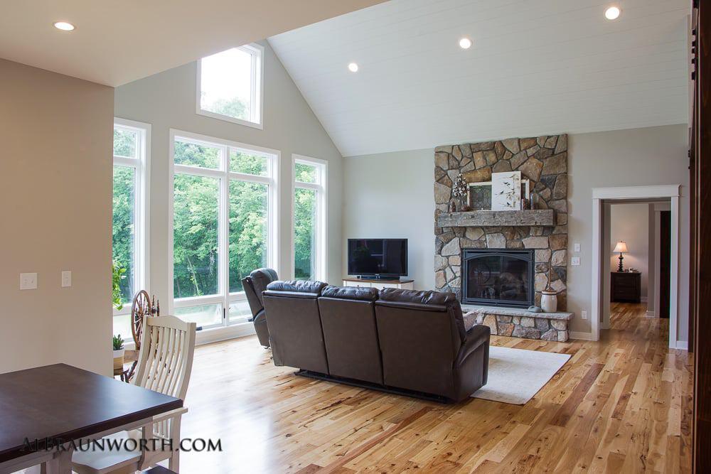 Custom Built Home Dining to Living Room