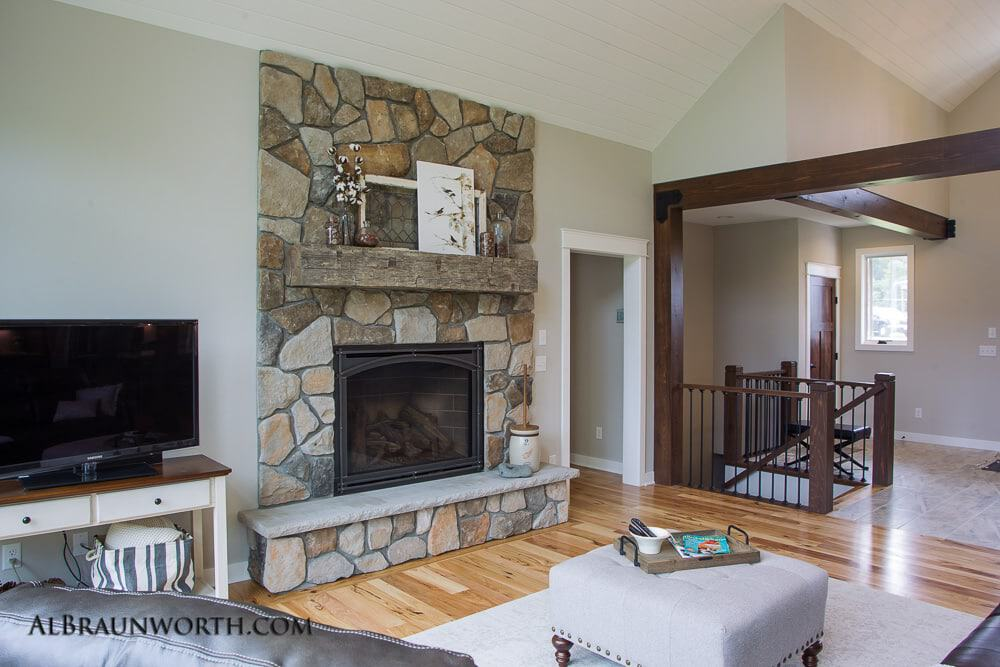 Custom Built Home Fireplace with Timber Mantle