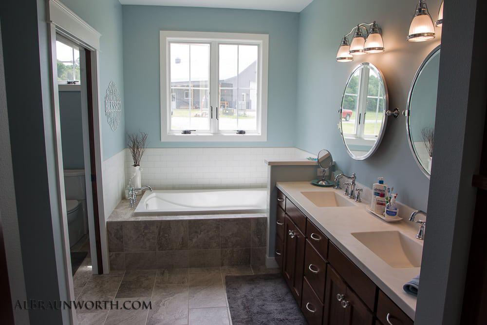 Custom Built Home Master Bath Vanity and Tub