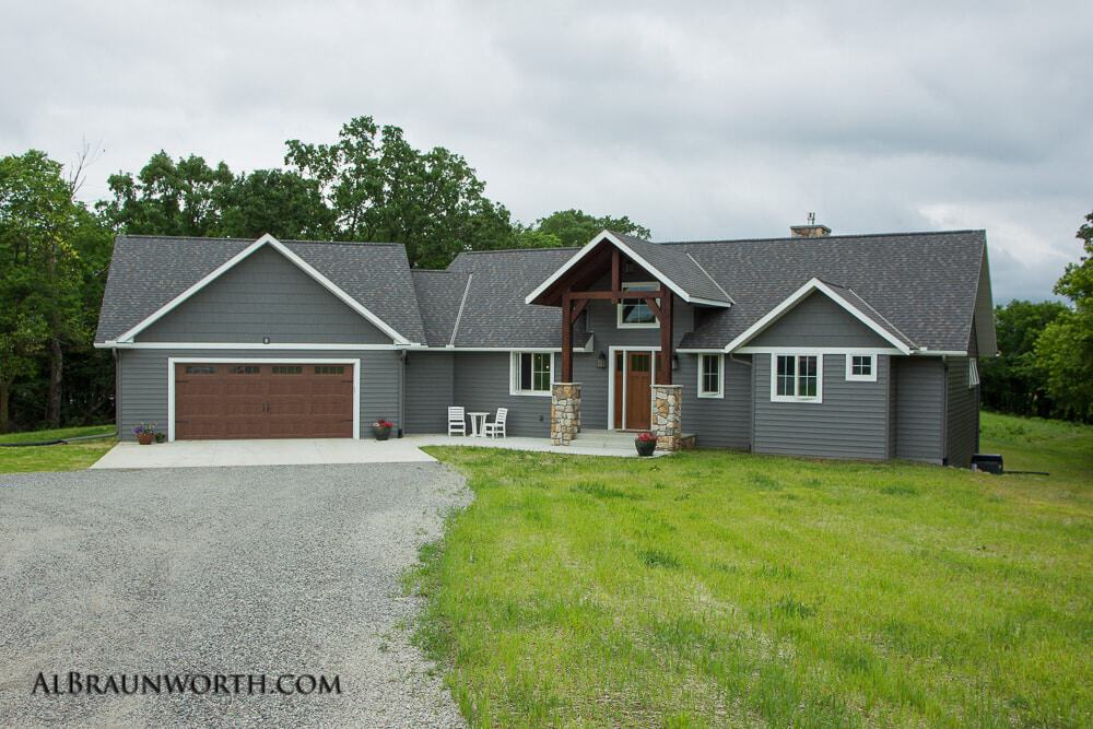 Custom Built Home Exterior from Driveway