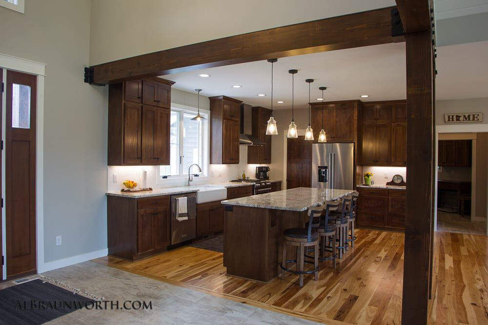 Custom Built Home Kitchen with Timber Accents