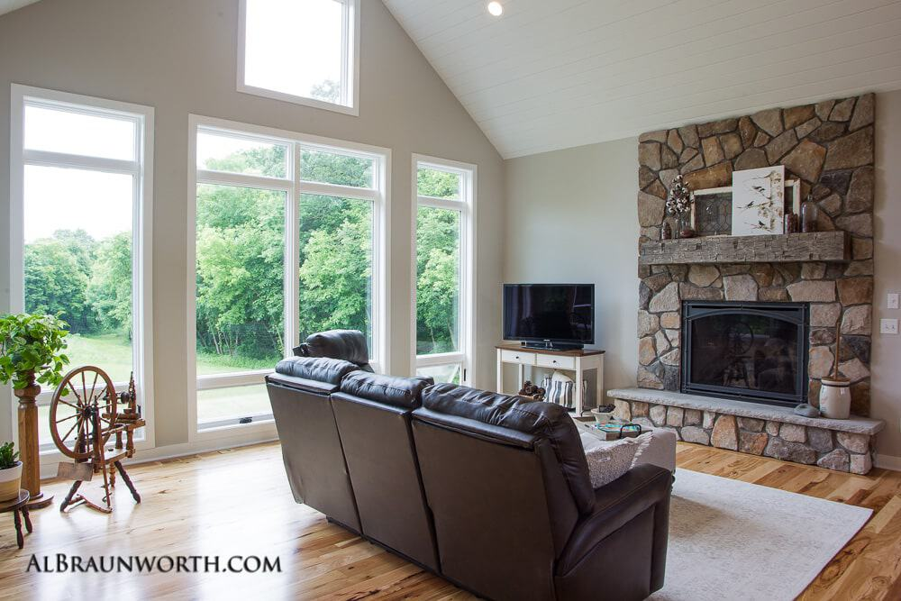 Custom Home Living Room with Fireplace