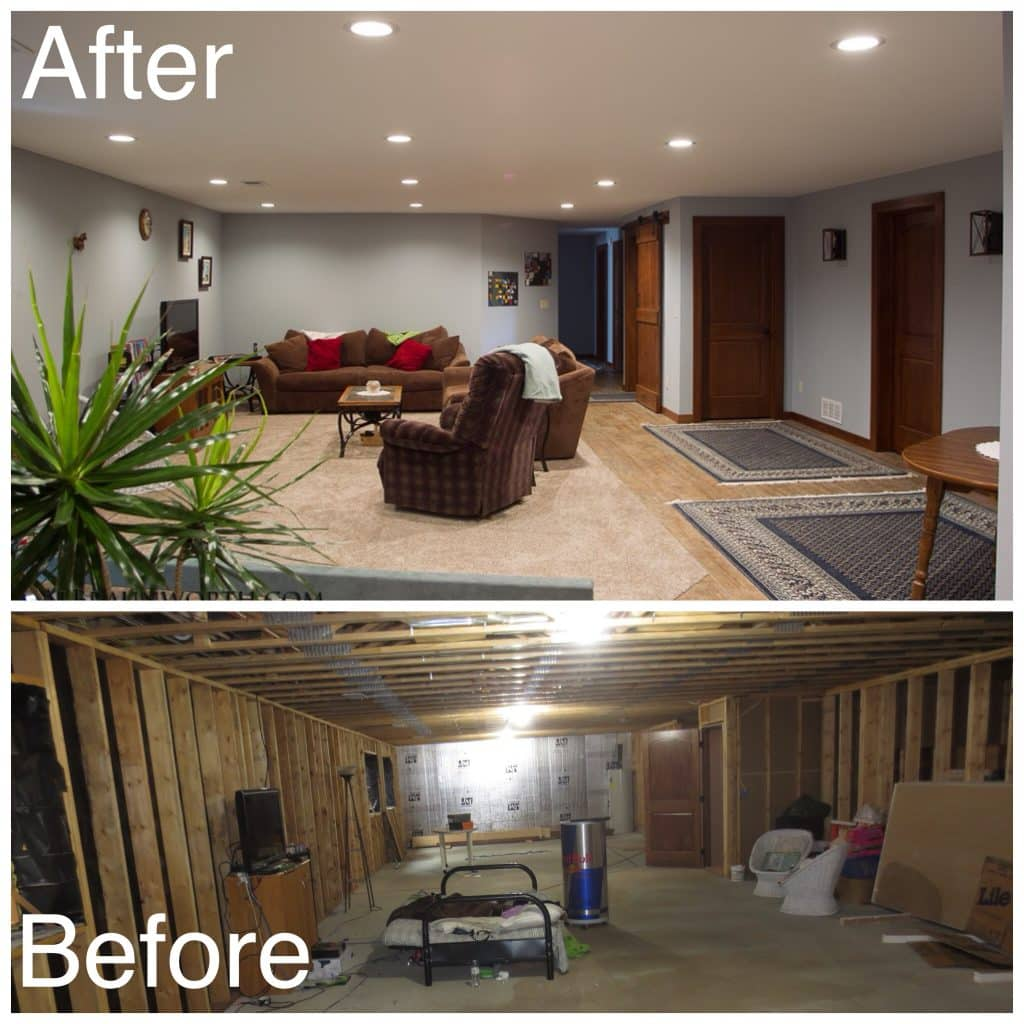 Basement Living Room Before and After